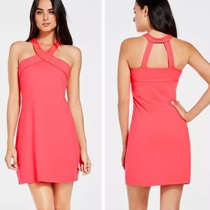 Fabletics Chicago pink criss cross halter dress